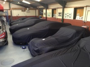 Classic Cars under car covers at Classic Car Storage UK.