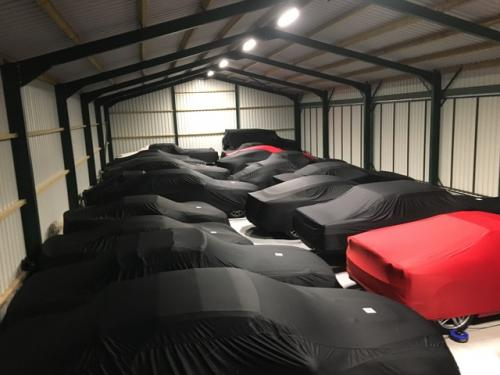 Cars in storage at Classic Car Storage UK facilities.