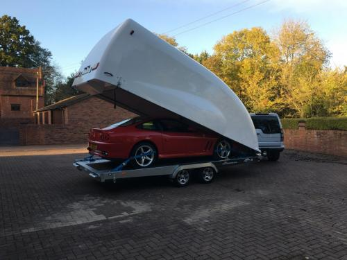 Classic Car Storage UK trailer transporting a classic Ferarri.