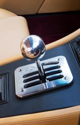 A gated shifter on a classic sports car stored at Classic Car Storage UK.