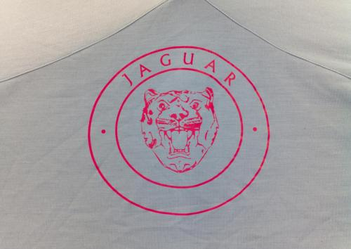 Jaguar Logo printed in pink onto a vintage car cover.